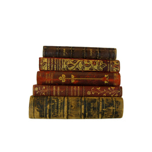 Leather Book Collection for Shelf Decor, S/5 - Decades of Vintage