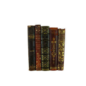 Leather Decorative Book Collection for Shelf Decor, S/5 - Decades of Vintage
