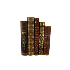 Old Leather-Bound Book Set for Decor, S/5 - Decades of Vintage