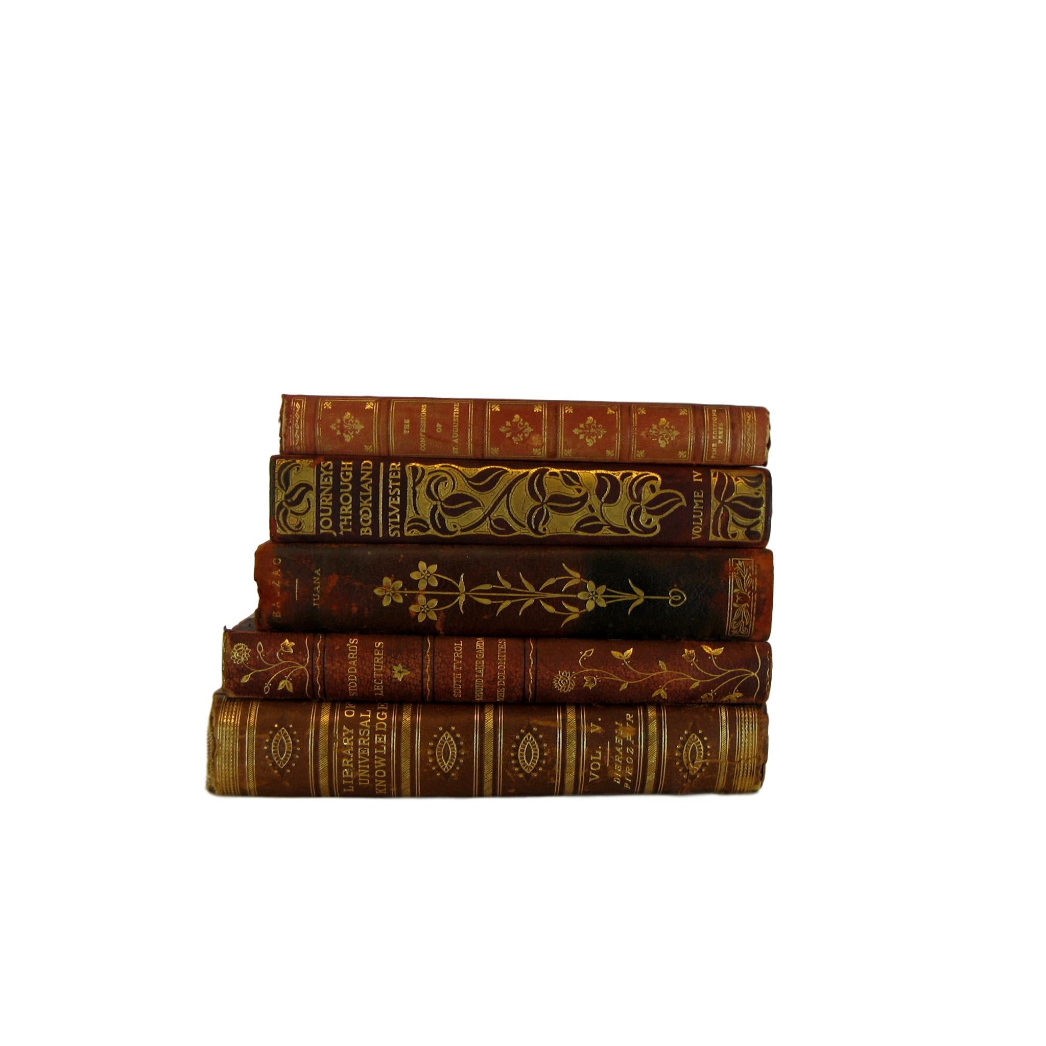 Decorative Leather Books for Mantel Decor, S/5 - Decades of Vintage