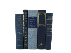 Blue Decorative  Books, S/5 - Decades of Vintage