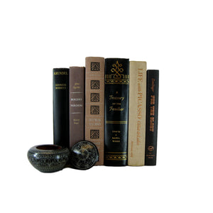 Black and Taupe Decorative Book Set, S/6 - Decades of Vintage