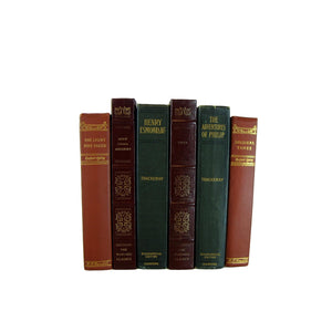 Blue Green Burgundy Books for Home Decor, S/6 - Decades of Vintage