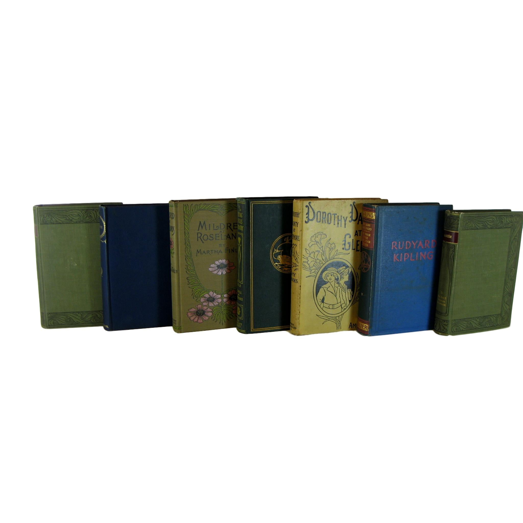 Antique Blue, Green and Neutral Books for Decoration,  S/6 - Decades of Vintage