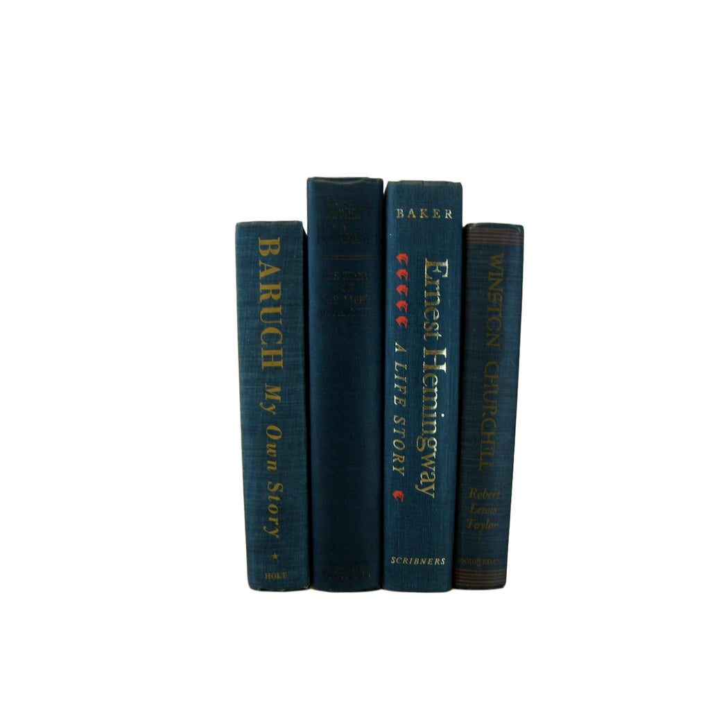 Blue Books for Bookshelf Decor, S/4 - Decades of Vintage