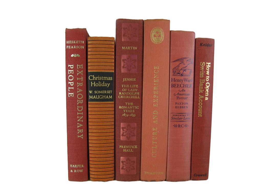 Terracotta and  Orange Decorative Vintage Book Decor, S/6 - Decades of Vintage