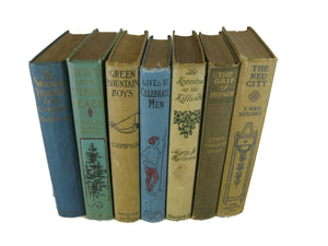 Blue and Brown Vintage Book Set for Farmhouse Decor, S/7 - Decades of Vintage