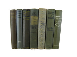 Green Brown Farmhouse Decorative Book Collection, S/7 - Decades of Vintage
