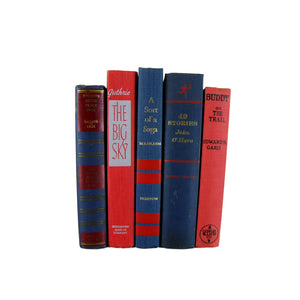 Blue and Red  Decorative Books for Mantel Decor, S/5 - Decades of Vintage
