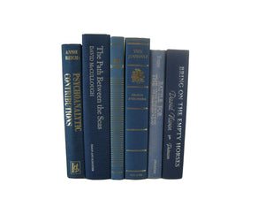 Blue Set of Decorative Books for Bookshelf Decor, S/6 - Decades of Vintage