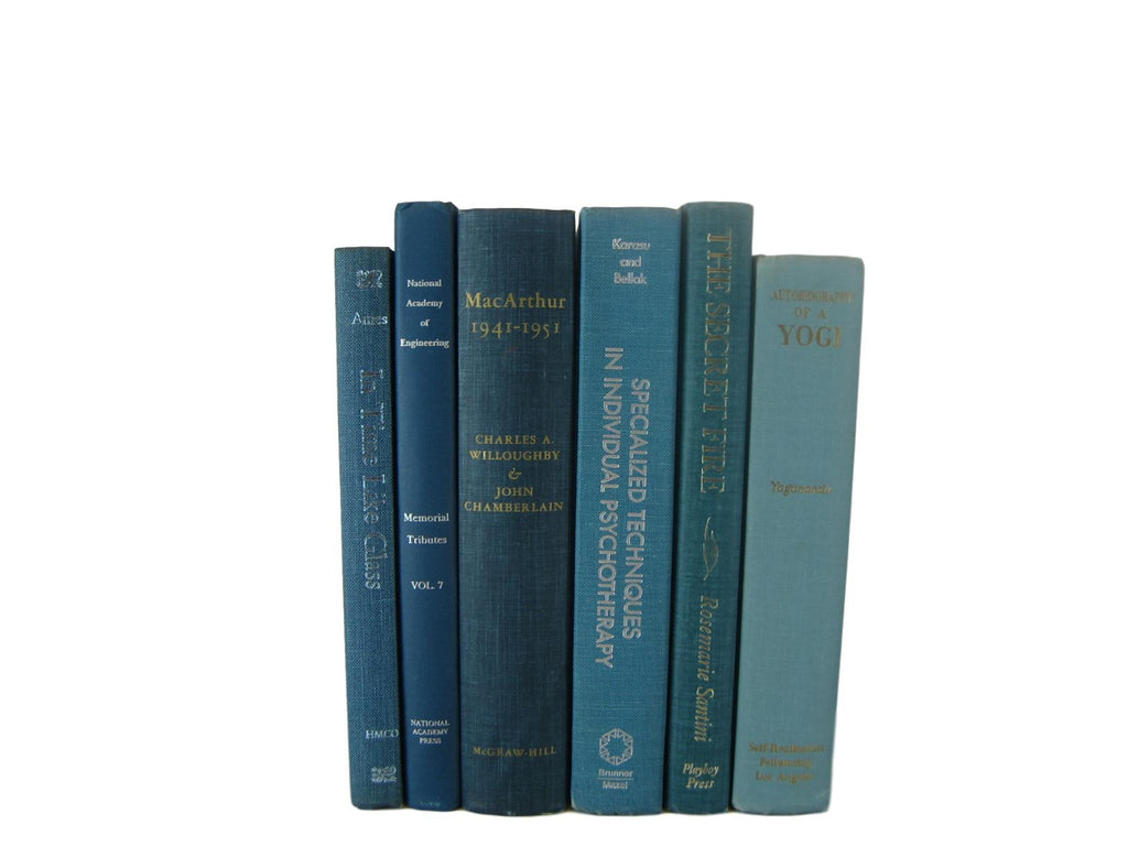 Gradient Shades of Blue Decorative Book Stack for Mantel  Decor, S/6 - Decades of Vintage