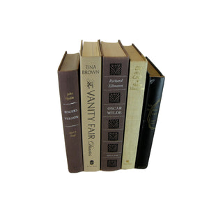 Black and Neutral-tone Decorative Books for Shelf display, S/5 - Decades of Vintage