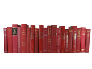Red Decorative Books for Shelf Decor Sold by the Foot - Decades of Vintage