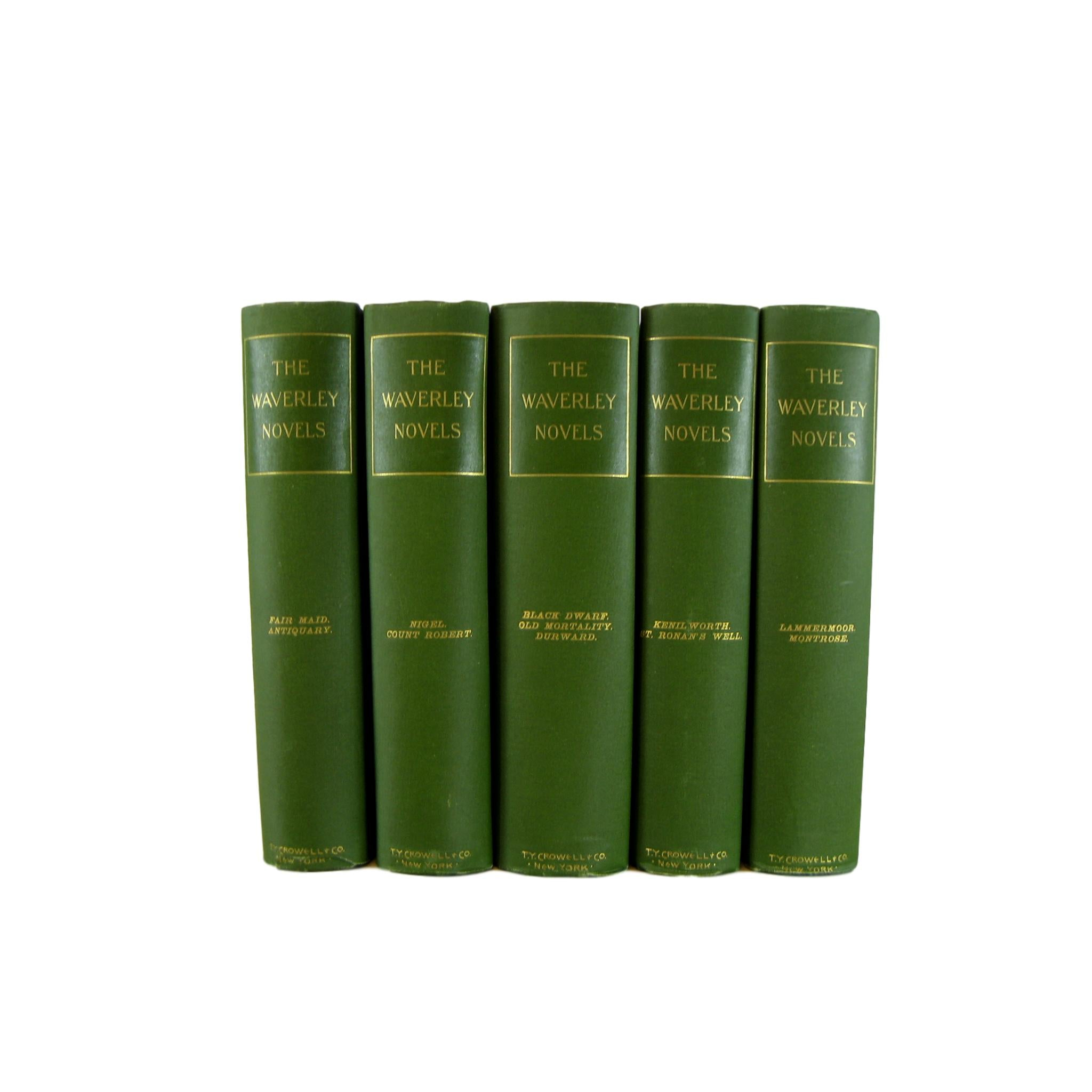 Antique Decorative Book Set of Green Waverley Novels, S/5 - Decades of Vintage