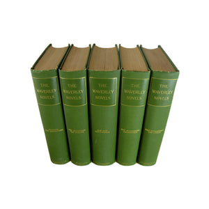 Decorative Set of  Waverley Novels in Green, S/5 - Decades of Vintage