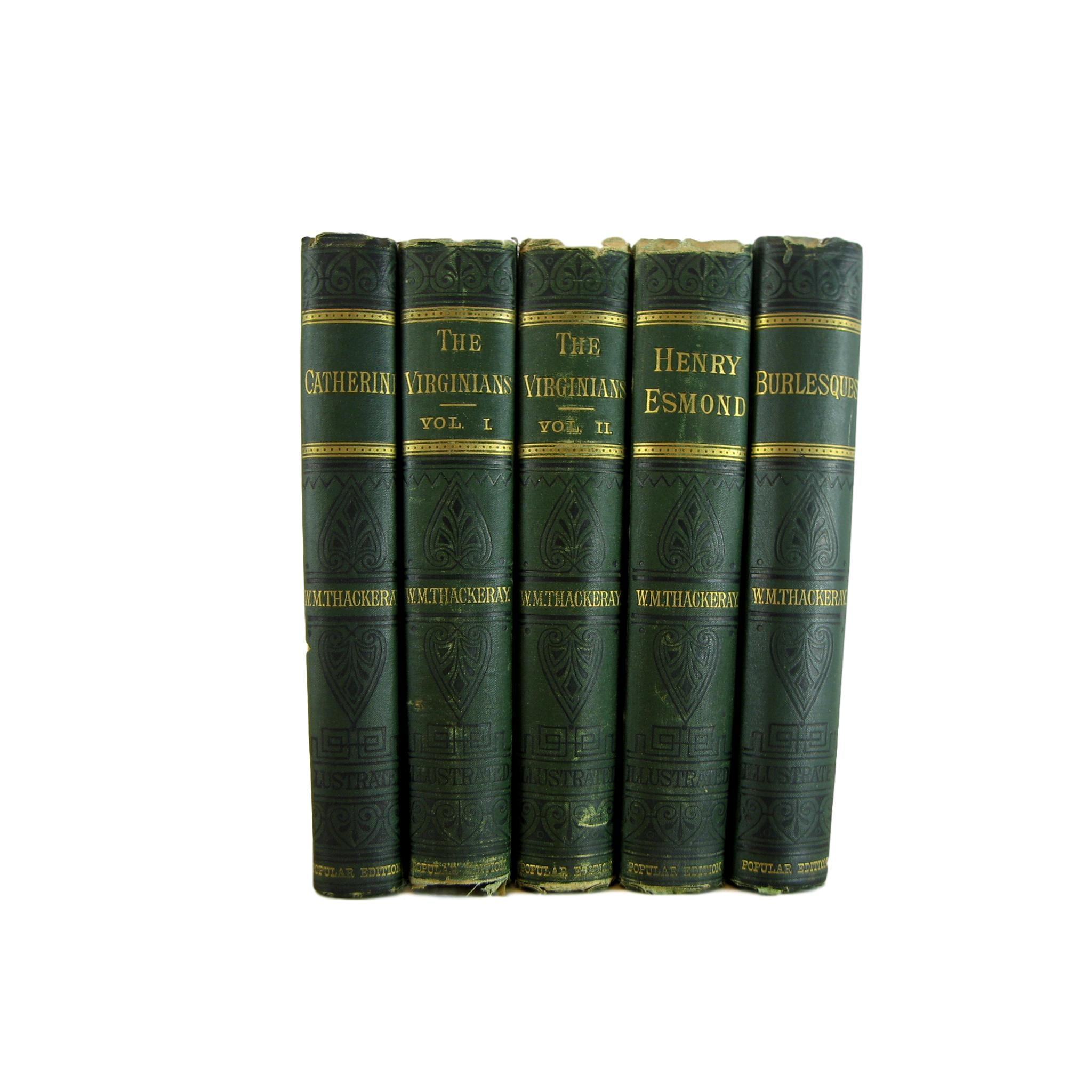Works of Thackeray, Antique Books for Shelf Decor, S/5 - Decades of Vintage