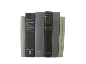 Gray Vintage Books for Decorating, S/6 - Decades of Vintage