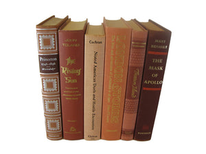Brown Terra Cotta Books for Farmhouse Book Decor, S/6 - Decades of Vintage