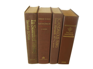 Brown Decorative Vintage Book Set, S/4 - Decades of Vintage