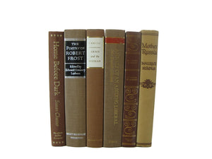 Brown Decorative Books, Vintage Books for Bookshelf Decor, S/6 - Decades of Vintage