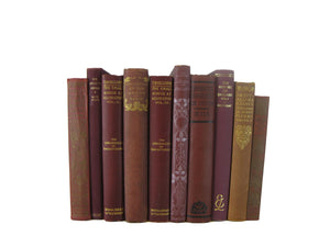 Decorative Book Set in Shades of Deep Reds and Burgundy, S/10 - Decades of Vintage