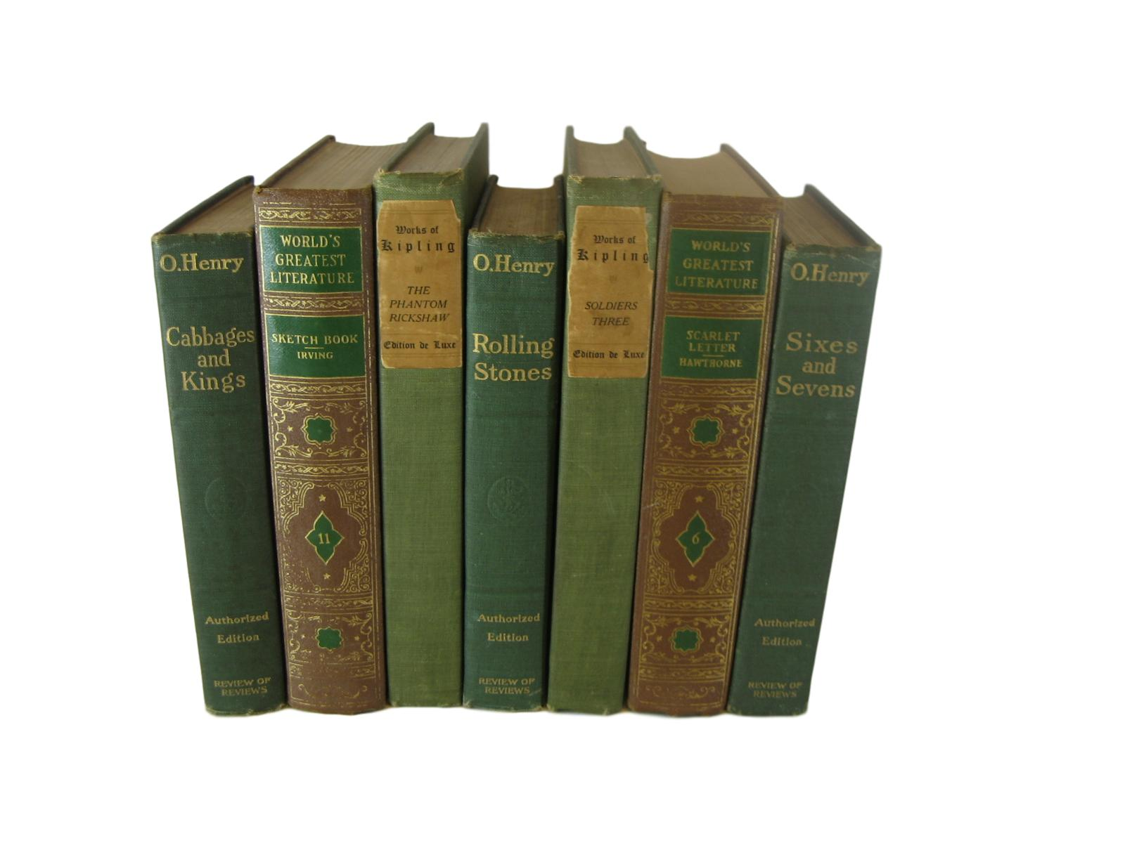 Brown and Green Decorative Books by Color for Bookshelf Decor, S/7 - Decades of Vintage