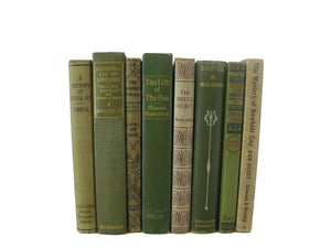Green Bookshelf Decor, Vintage Book Set, S/8 - Decades of Vintage