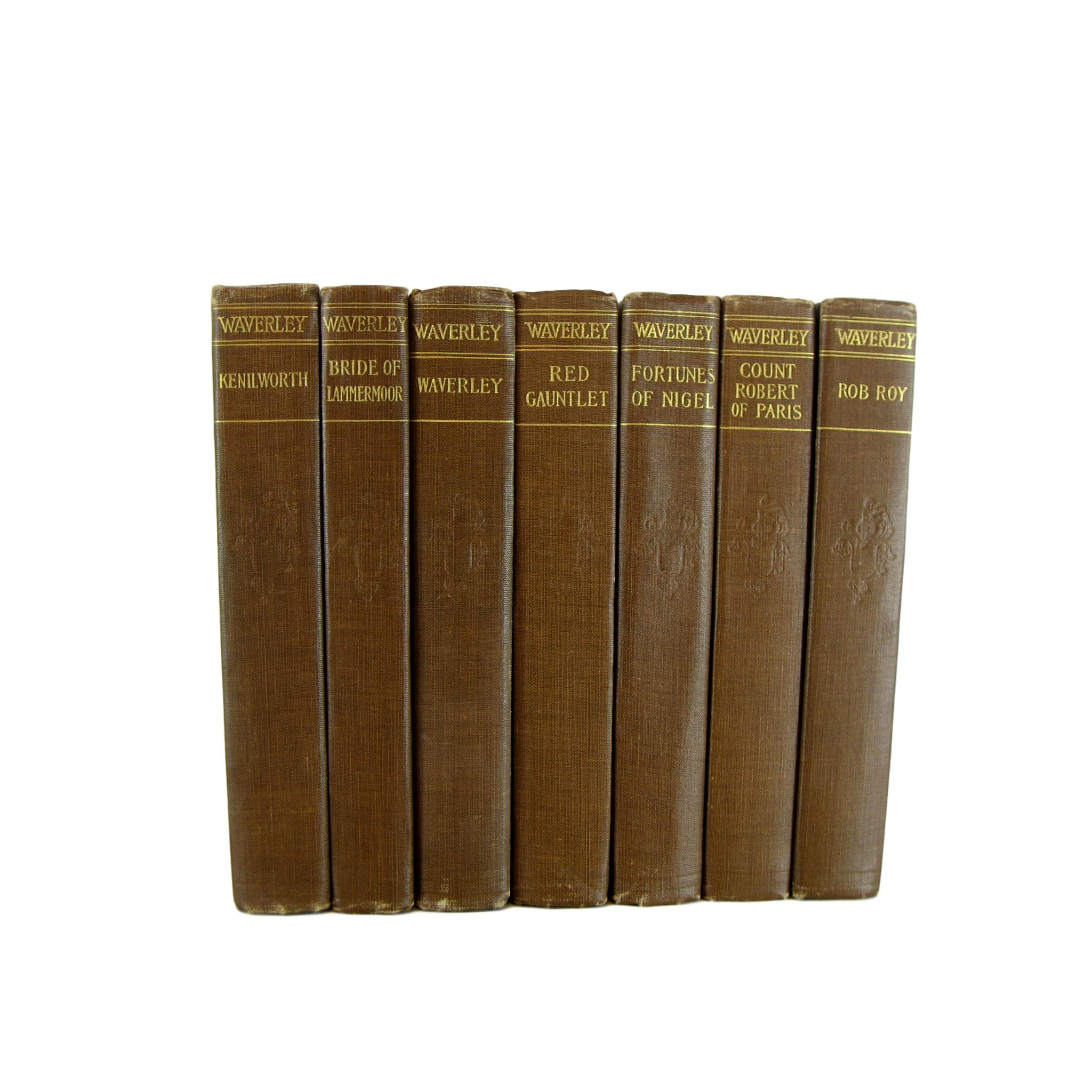 Brown Waverley Novels by Sir Walter Scott for  Shelf Decor, S/7 - Decades of Vintage