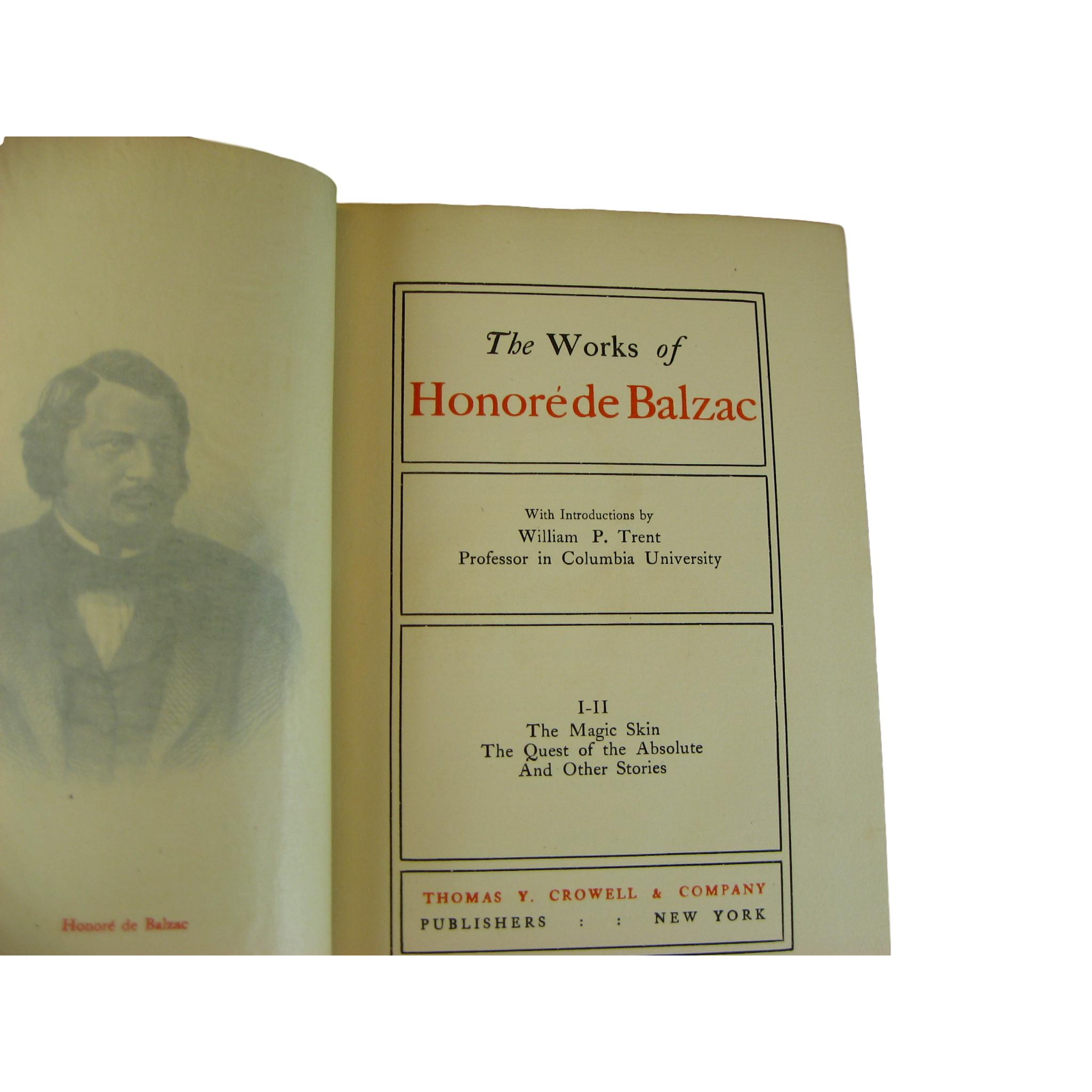 Antique Decorative Books, Works of Honoré de Balzac, Shelf Decor, S/6 - Decades of Vintage
