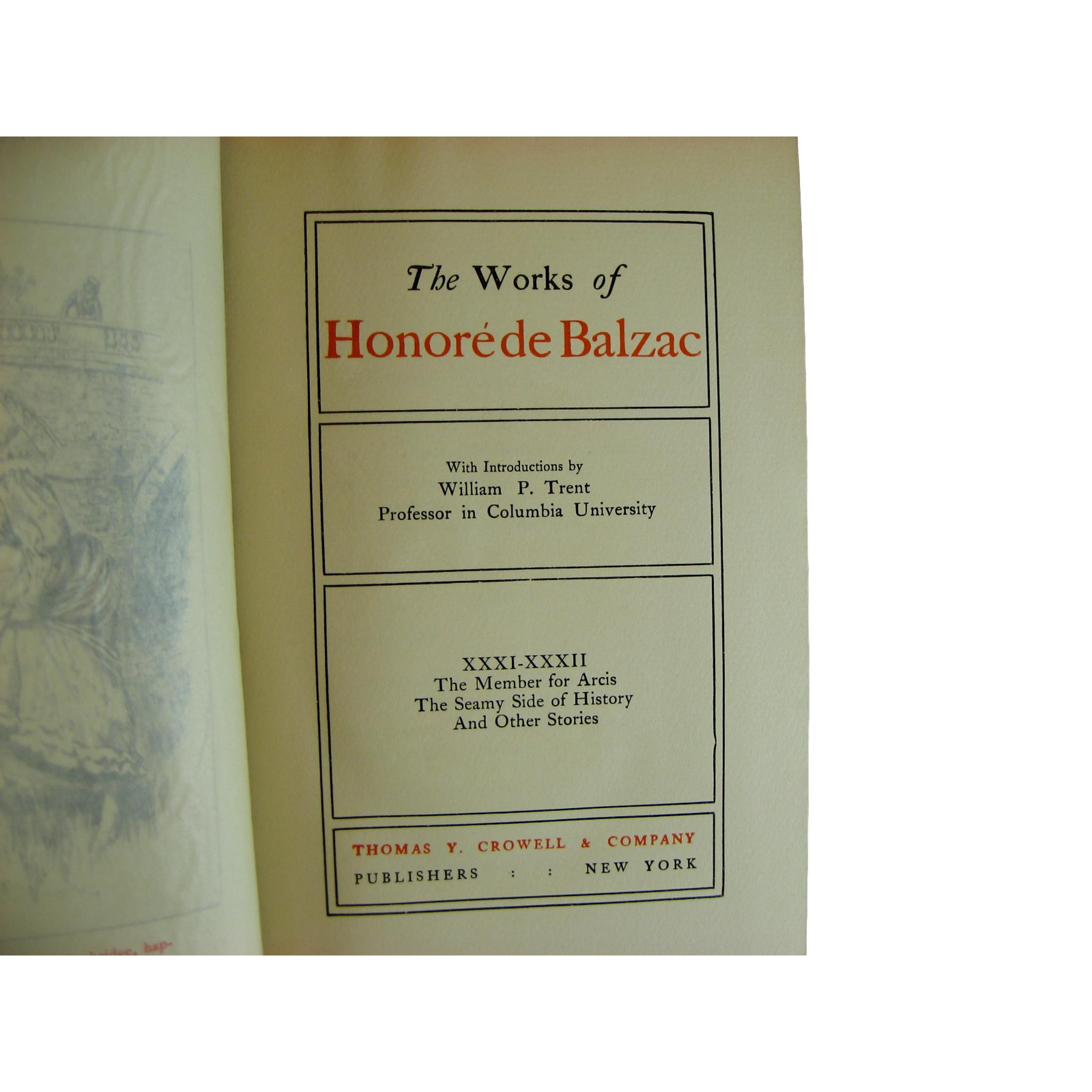 Decorative Books of the Antique Works of Honoré de Balzac, S/6 - Decades of Vintage