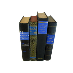 Black and Blue Decorative Books, S/4 - Decades of Vintage