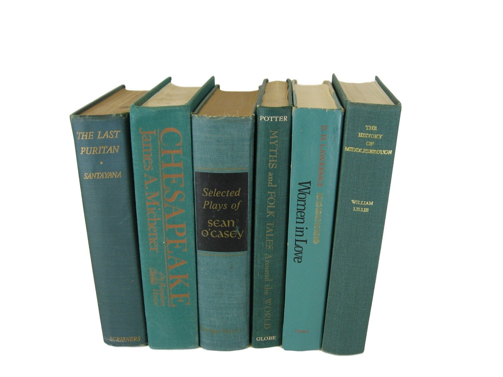 Decorative  Book Stack in Green, S/6 - Decades of Vintage