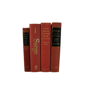 Brick Terra Cotta Rust Orange Book Set for Fall Decor, S/4 - Decades of Vintage