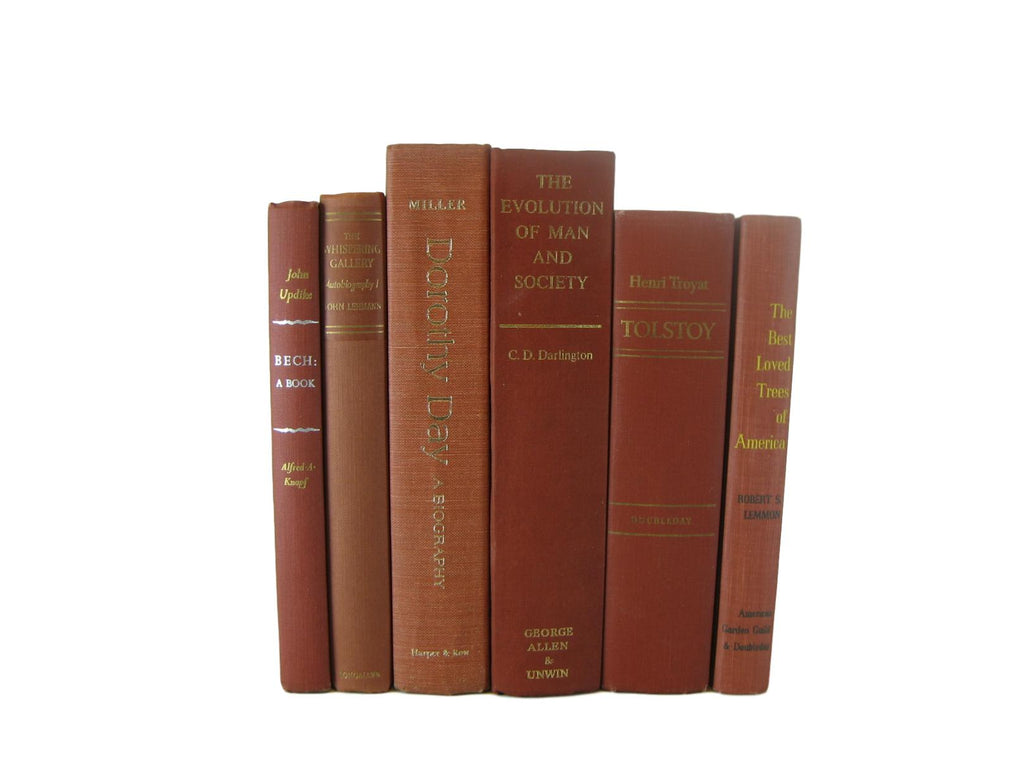 Brown,  Burnt Orange, Terra Cotta Books for Farmhouse Book Decor, S/6 - Decades of Vintage