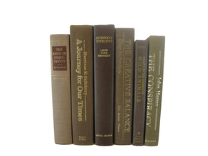 Brown Vintage Decorative Books for Home Decor, S/6 - Decades of Vintage
