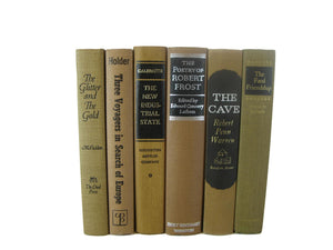 Brown Books for Farmhouse Vintage Books for  Decor, S/6 - Decades of Vintage
