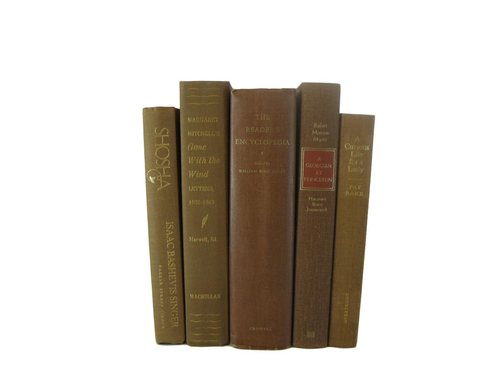 Brown Decorative Books for Display and for Mantel Decor, S/5 - Decades of Vintage