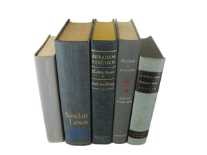 Gray Vintage Books for Display, S/5 - Decades of Vintage