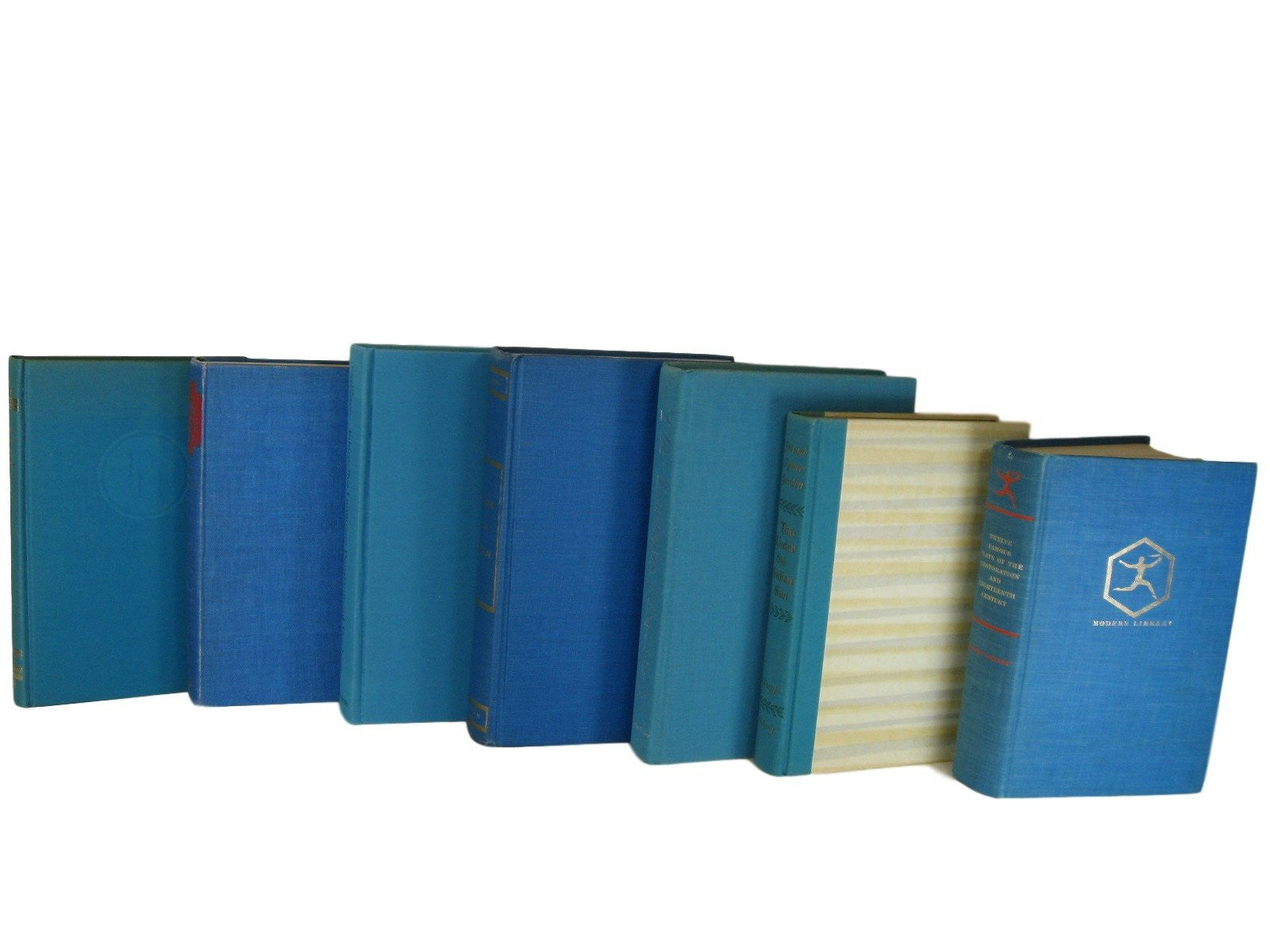 Blue Green Vintage Book Decor, S/7 - Decades of Vintage