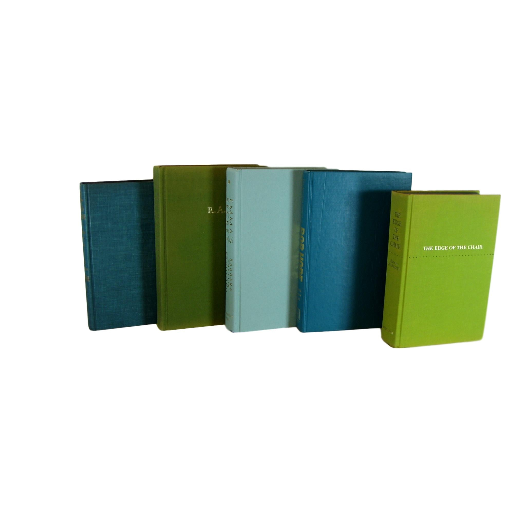 Green Blue Decorative Books, S/5 - Decades of Vintage