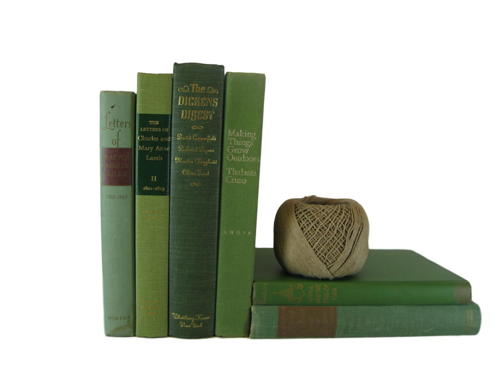 Green Decorative Books for Home Decor, S/6 - Decades of Vintage