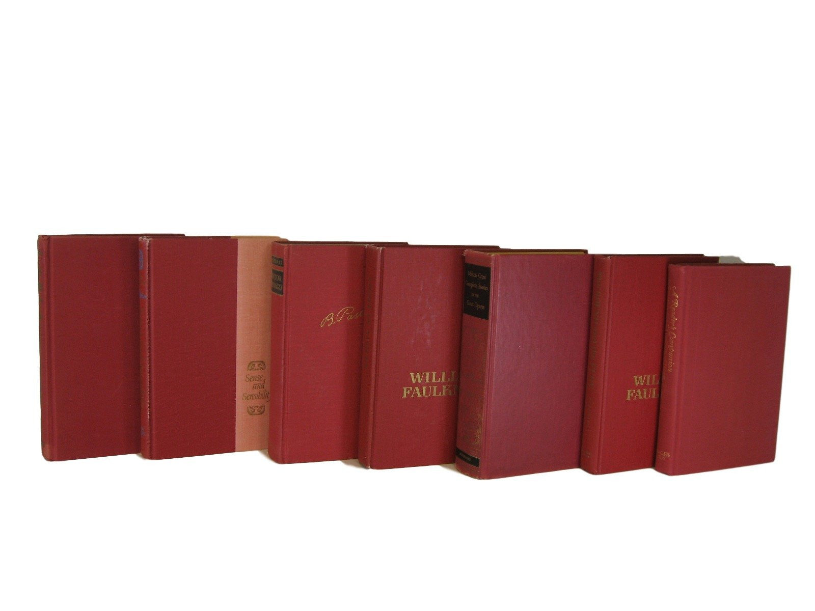Red Decorative Books, S/7 - Decades of Vintage