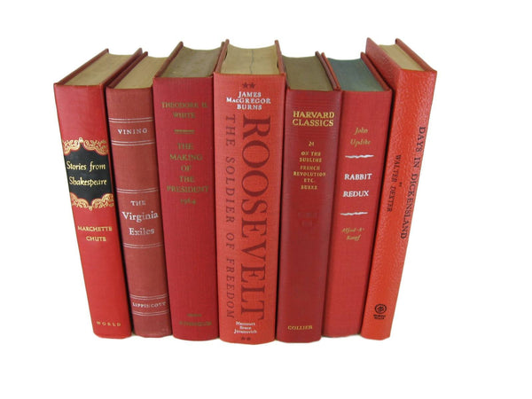 Red  Vintage Books by Color, S/7 - Decades of Vintage