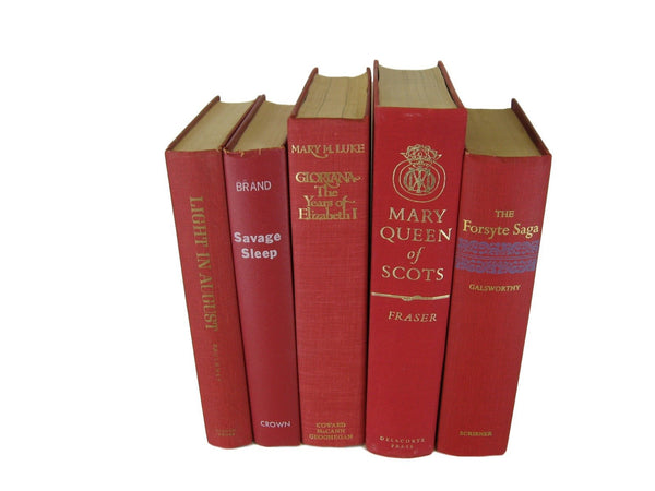 Red Vintage Book Set, S/5 - Decades of Vintage