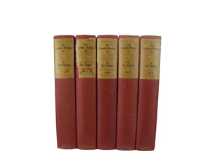 Antique Decorative Books for Display, Red Set of Books, S/5 - Decades of Vintage