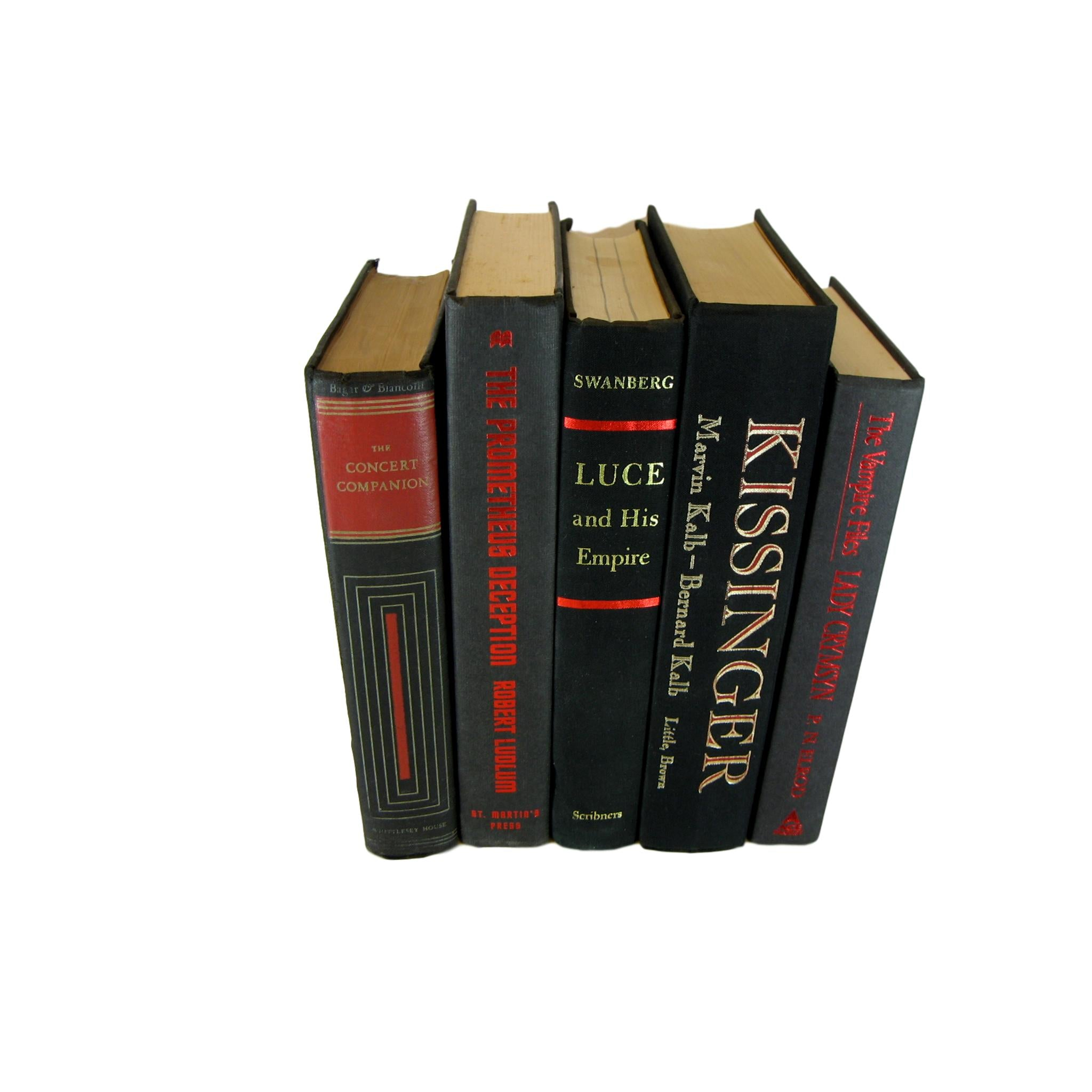 Black Books for Modern Bookshelf Decor, S/5 - Decades of Vintage