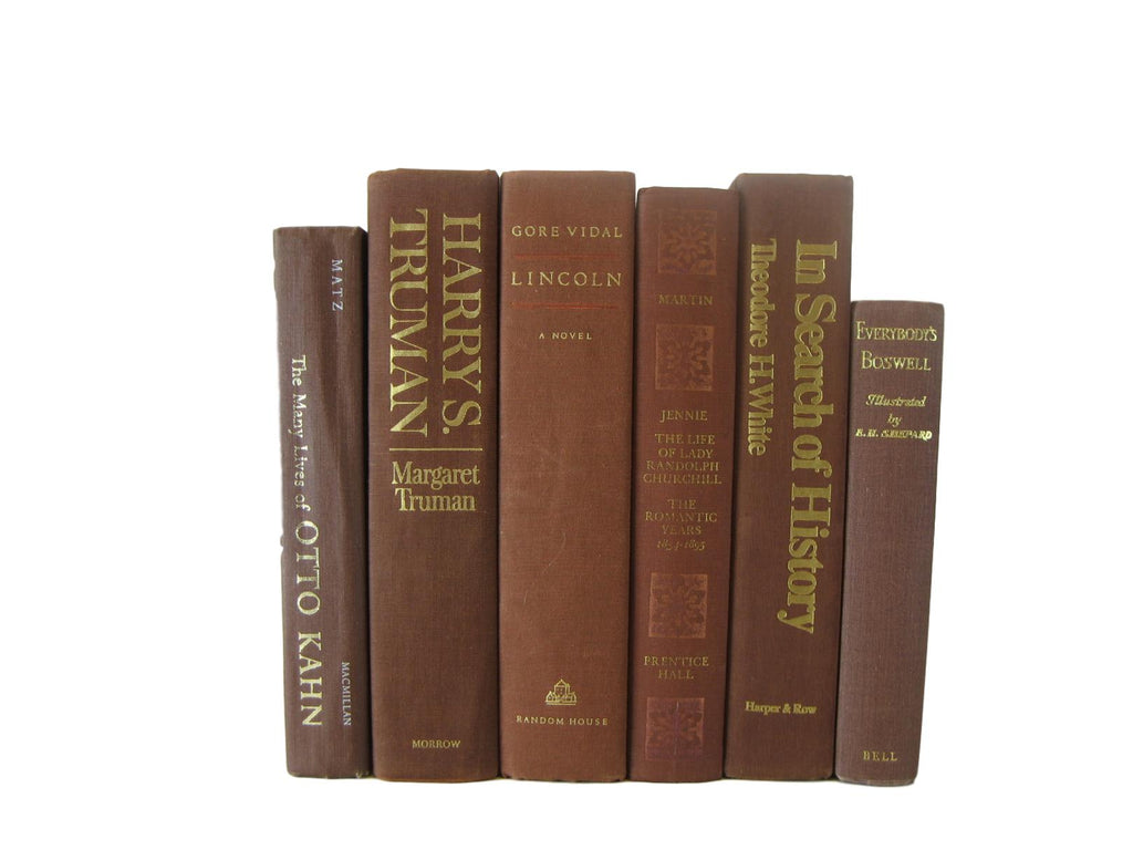 Brown Vintage Decorative Books , S/6 - Decades of Vintage