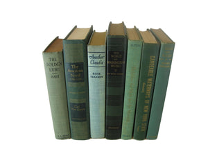 Green  Vintage Decorative Books , S/7 - Decades of Vintage