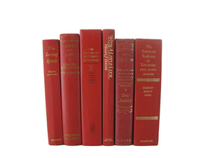 Red Vintage Books for Decor, S/6 - Decades of Vintage