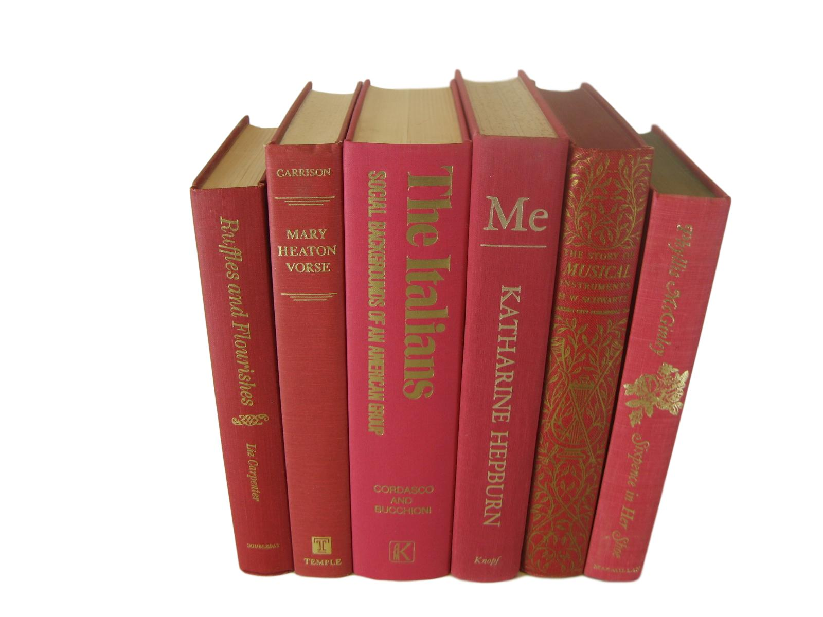 Red Vintage Books for Decor, S/6